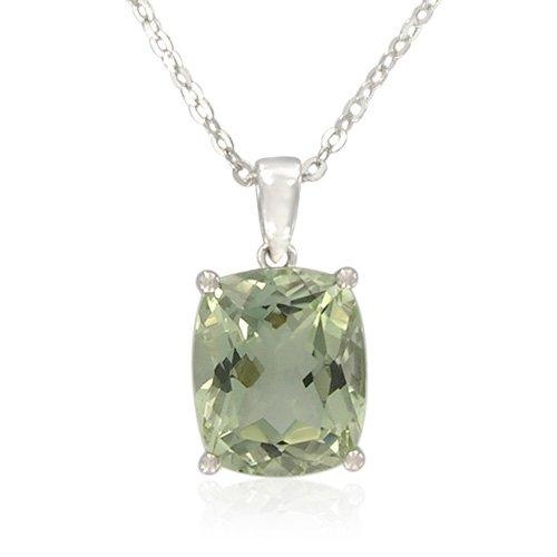 Sterling Silver Cushion-Cut Green Amethyst Pendant, 18.5