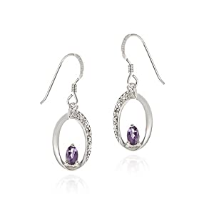 Sterling Silver Amethyst & Diamond Accent Oval Dangle Earring
