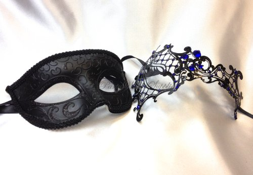 Couple Masquerade Mask Pair for Men and Women Laser Cut Metal Costume Masquerade Mask