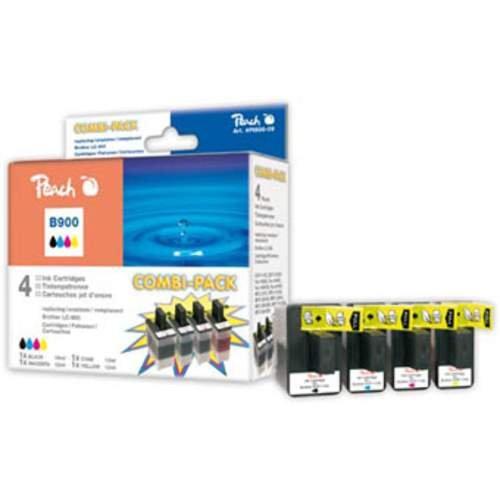 Peach B900 bk, c, m, y Spar Pack Tintenpatronen kompatibel zu Brother LC-900, schwarz/cyan/magenta/gelb