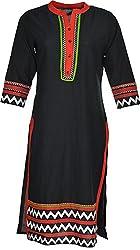 Artisan Women's Cotton Straight Kurta (CZF10035_XL, Black & Red, XL)