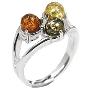 Multicolor Amber Sterling Silver Tri-stone Ring