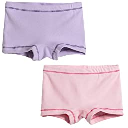 City Threads Girls\' 2-Pack BoyShorts Perfect for Sensitive Skin SPD Sensory Friendly Clothing For School Play and Under Dresses Bike and Dance Shorts Perfect for Sensitive Skin SPD Sensory Friendly Clothing For School Play and Under Dresses, Ballerina, 2T
