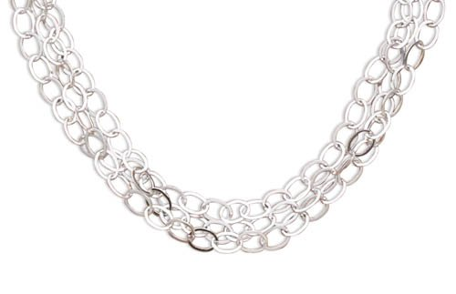 Sterling Silver 17 Inch 3 Strand Oval Link Necklace Measures 12.5mm Wide- Lobster Clasp - 17 Inch