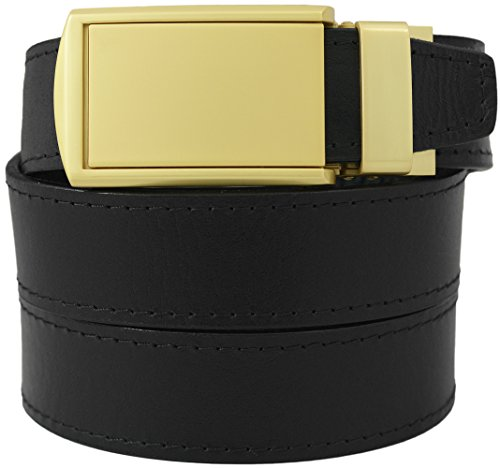 Top Grain Black Leather Belt with Matte Gold Buckle