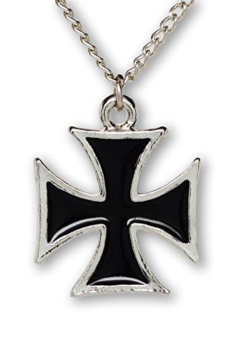 maltese-cross-surfers-cross-black-on-silver-finish-pewter-pendant-necklace