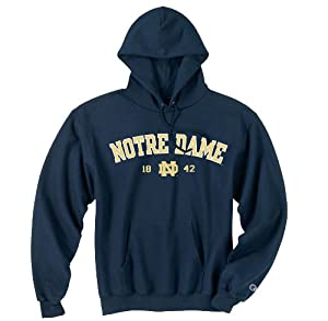 University Of Notre Dame Hooded Sweatshirt Navy 1842 by Champion