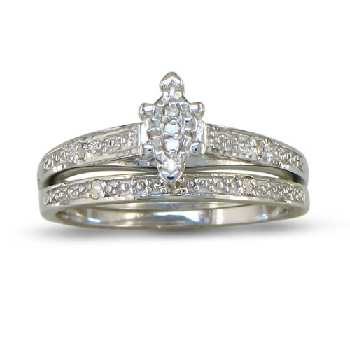 Marquise Diamond Bridal Engagement Ring and Wedding Band in Sterling Silver