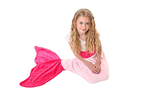 Mermaid Tail Blanket - Super Soft & Warm Polar Fleece Fabric Blanket by Cuddly Blankets. Perfect Gift for Kids and Teens (Ages 3-12) (Hot Pink & Light Pink) (Mermaid Sewing Kit compare prices)