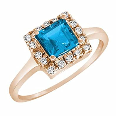 Ryan Jonathan Blue Topaz and Diamond Ring in 14K White Gold