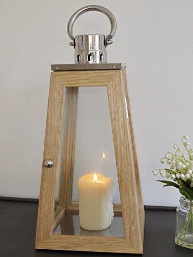 56cm-tall-oak-effect-wood-chrome-obelisk-lantern-candle-holder-garden-or-indoor