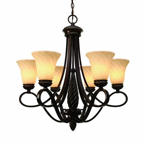 Golden Lighting 8106-6 CDB Torbellino Six Light Chandelier, Cordoban Bronze Finish