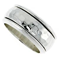 Sterling Silver 3/8 (10 mm) Hammered Band Design Spinner Ring