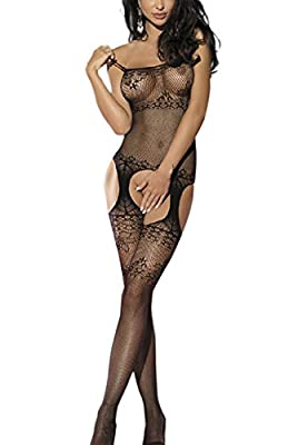 Globalsellinc Women Sexy Crotchless Fishnet Bodystocking Bodysuit Teddy Nightwear Lingerie
