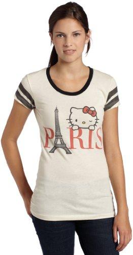 Mighty Fine Juniors Bonjour Paris Kitty T Shirt,Linen/Black,Small