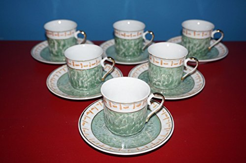 SET OF 6 Small Porcelain Coffee Tea Espresso CUPS & SAUCERS 12 Pieces Decorative
