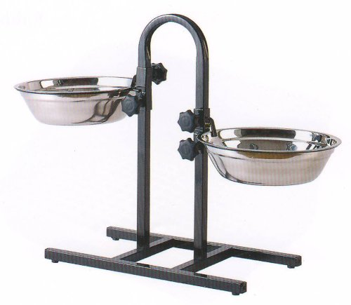 *Large* 5-Quart Adjustable Wrought Iron Stainless Steel Dog Cat Pet Double Diner Food Water Bowls front-116647