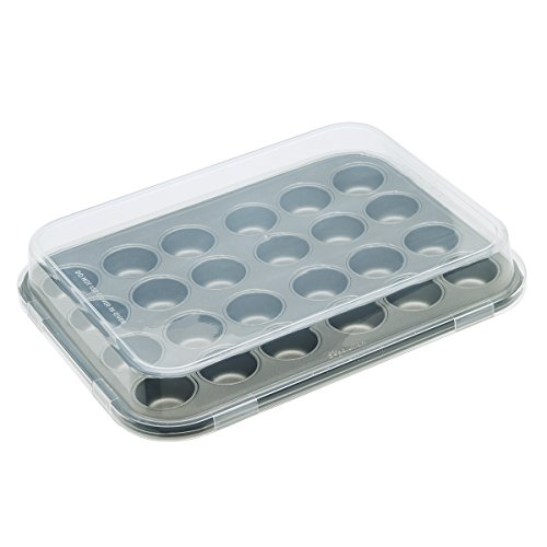 Ecolution Bakeins 24 Mini Muffin and Cupcake Pan with Lid - PFOA, BPA, and PTFE Free Non-Stick Coating - Heavy Duty Carbon Steel - Dishwasher Safe - Gray - 13.5