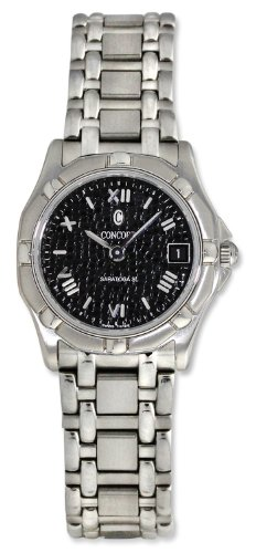 Concord Saratoga SL Stainless Steel Womens Watch Black Mosaic Dial Quartz