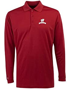 Wisconsin Long Sleeve Polo Shirt (Team Color) by Antigua