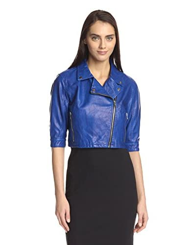 BLANKNYC Women's Crop Faux Leather Moto Jacket
