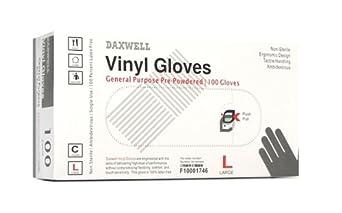 Daxwell Vinyl General Purpose Glove, Powdered, Clear
