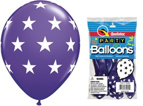 "PIONEER BALLOON COMPANY 5 Count Round Big Stars, 11"", Violet"