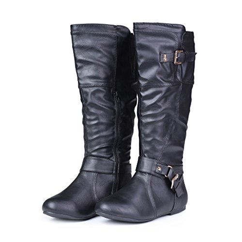 8. Twisted Women's Shelly Wide Width Stitched Pannel Tall Boots