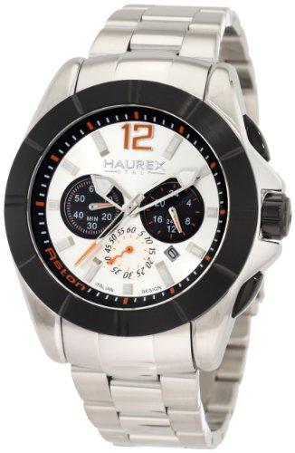 Haurex Italy Aston - Reloj cronógrafo de caballero de cuarzo con correa de acero inoxidable plateada