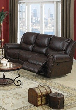 Dark Chocolate Bonded Leather Collection Reclining Loveseat by Poundex