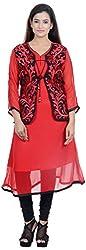 Amafhh Women's Georgette Regular Fit Kurta (amfkr7470red, Red, X-Large)