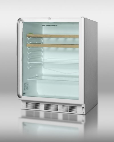 Summit Scr600Lcssrcada: Ada Compliant Commercial Glass Door All-Refrigerator For Built-In Use, With Wrapped Stainless Steel Cabinet, Lock, And Two Wooden Shelves
