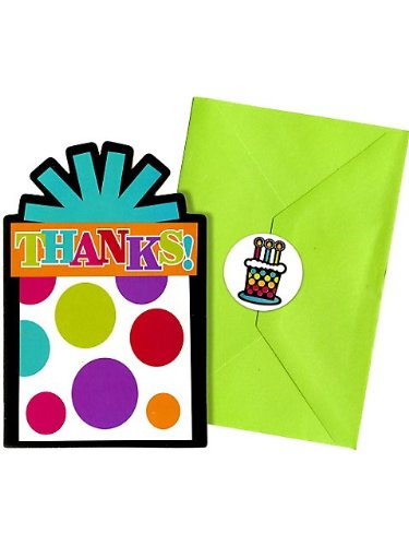"Amscan Party On Rainbow Polka Dots Postcard Thank You Cards Value Pack, Multicolored, 4 1/4"" x 6 1/4"" - 1"