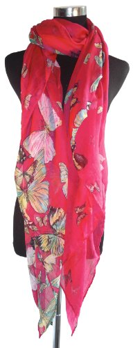 Large Dark Pink Butterfly Chiffon Scarf or Sarong