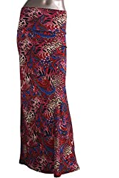 Azules Women's Poly Span Multiple Selection Print Maxi Skirt-made in USA