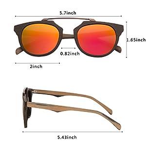 d54983e0e6c8c WISH CLUB Wood Frame Polarized Lenses Sunglasses for Women and Men Adults Wooden  Cat Eye Bamboo Vintage Handmade ...