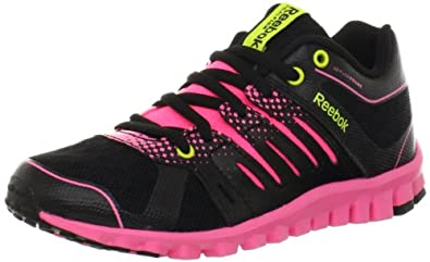 Reebok Real Flex Strength TR Shoe (Little Kid/Big Kid),Black/Pink Zing/Solar Green/Flat Grey,11 M US Little Kid