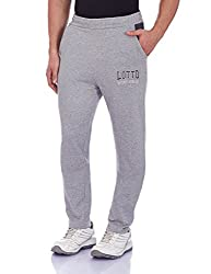 Lotto Men's Fleece Track Pants (8903264313041_F1510405_Large_Melange Grey and Dark Grey)