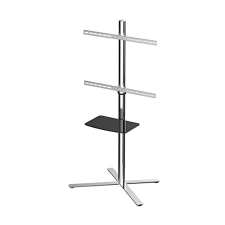 "Fleximounts Universal Tv Cart Vertically Adjustable W/ Dvd Shelf For 32""-60"" Flat Screen Monitors Stainless Steel Finish"