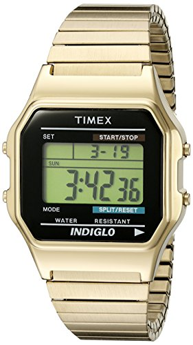 Timex Classic Unisex T78677 Quartz Watch with LCD Dial Digital Display and Gold Stainless Steel Bracelet