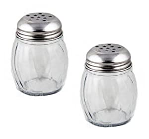 NEW, 6 oz. (Ounce) Swirl Glass Cheese Shaker, Pepper Spice Shaker w/ Perforated Stainless Steel Lid - Set of 2