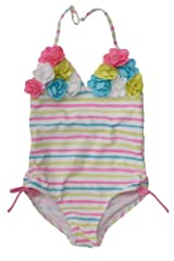Kate Mack Girl's 7-16 Garden Stripe 1pc Swimsuit in Multi