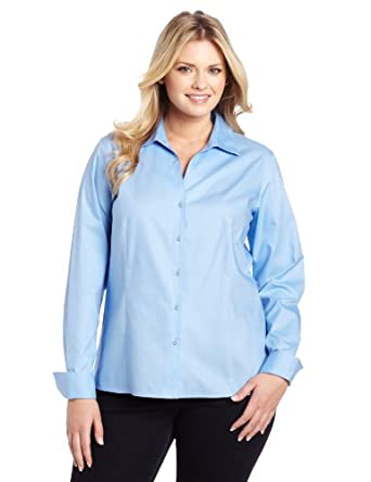 Jones New York Women's Plus-Size Long Sleeve No-Iron Easy Care Blouse, New Blue, 14W