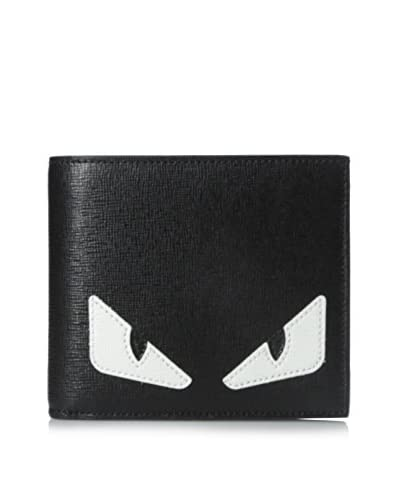 Fendi Men's Monster Leather Wallet, Black/White