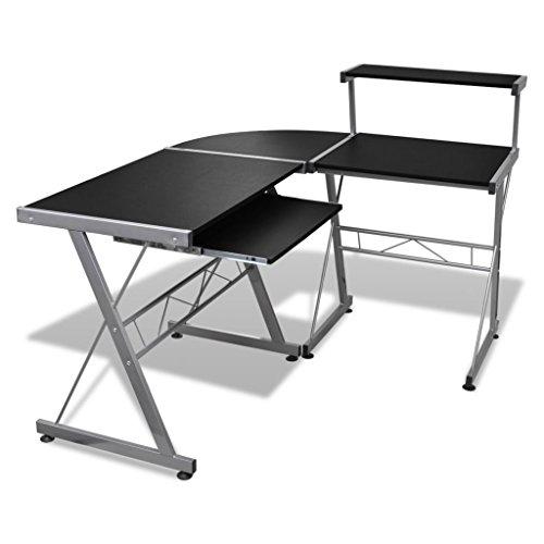 Tavolo Scrivania per Computer Laptop e Desktop Postazione Ripiano Estraibile Tavolo da Ufficio/Tavolo per Studente Finitura (Nero)