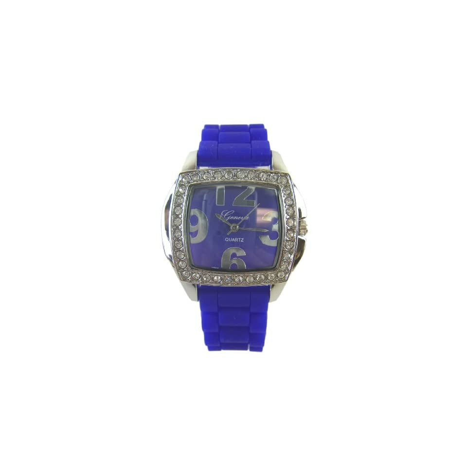 Ladies Square Watch with Dark Blue Silicone Band   Womens Fashion Watch with Rhinestone Bezel