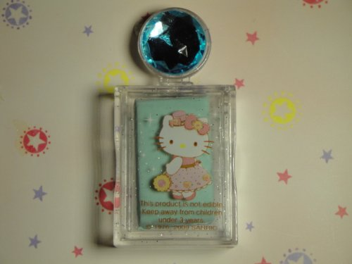 Authentic Hello Kitty 2009 Holiday Edition Castle Kitty Food Scented (Refreshing Mint Scent) Silly Putty Erasers with Birthstone Jewel Aqua Marine Color, Comes with Keepsake Collector's Box.