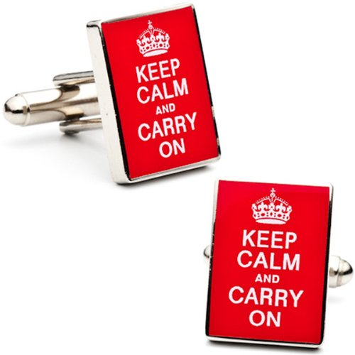 World War II Poster Keep Calm and Carry On Cufflinks Cuff Links
