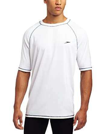 Speedo Men's UPF 50+ Easy Short Sleeve Rashguard Swim Tee,  White,  Medium