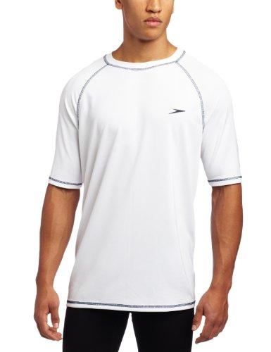 Speedo Men's UPF 50+ Easy Short Sleeve Rashguard Swim Tee, White, XX-Large